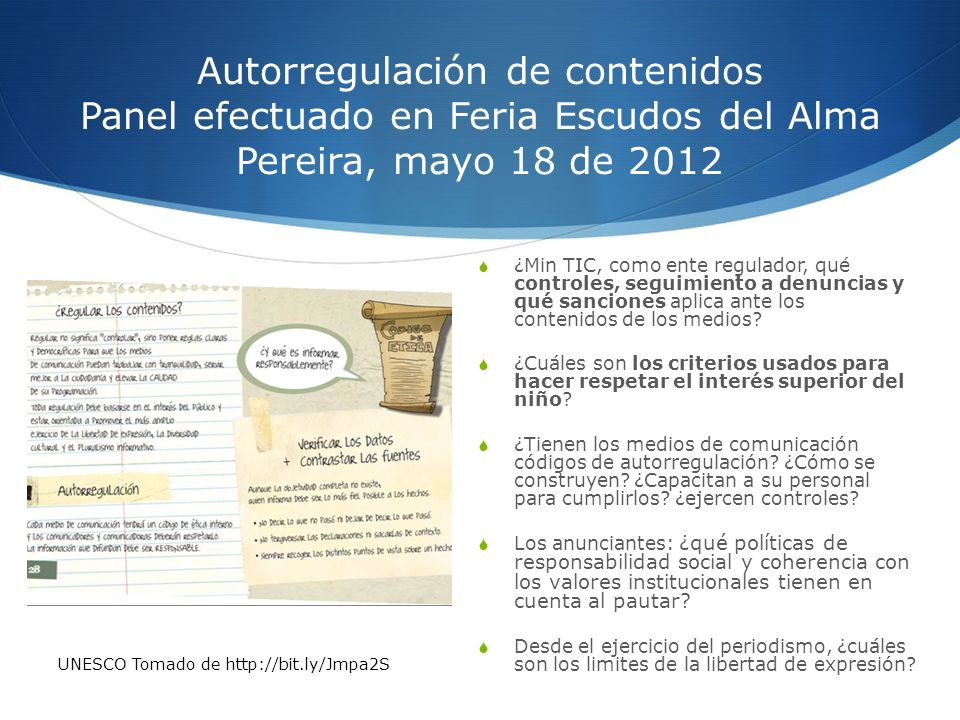 Autorregulación de contenidos Panel efectuado en Feria Escudos del Alma Pereira, mayo 18 de 2012