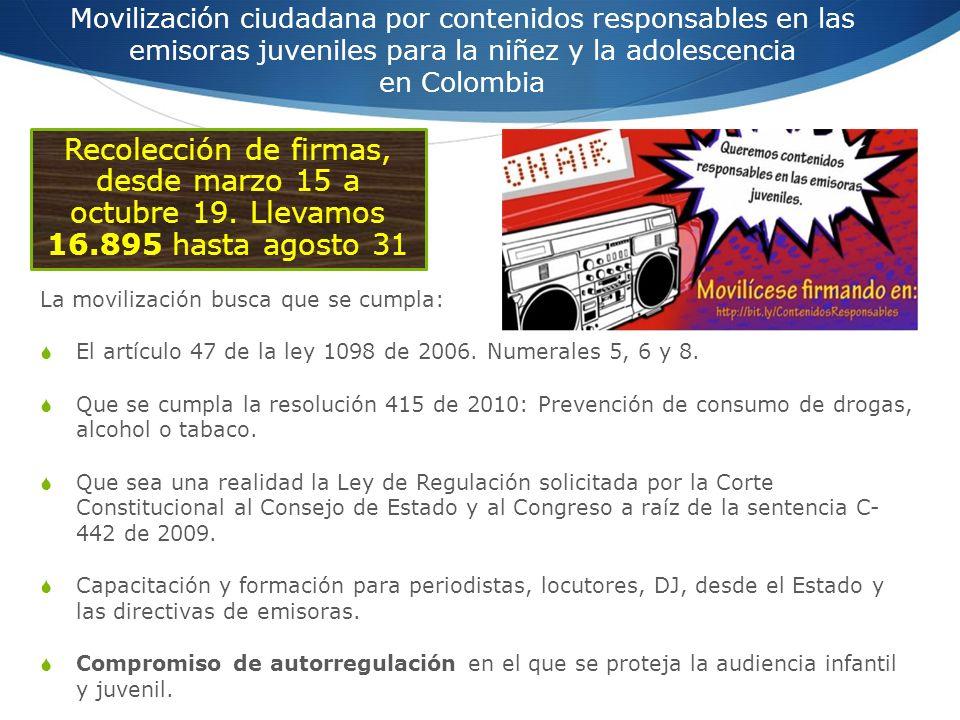 Movilización ciudadana por contenidos responsables en las emisoras juveniles para la niñez y la adolescencia en Colombia