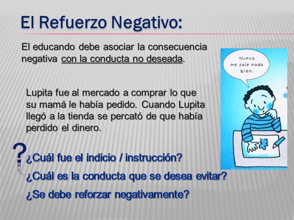 El Refuerzo Negativo: ¿Cuál fue el indicio / instrucción