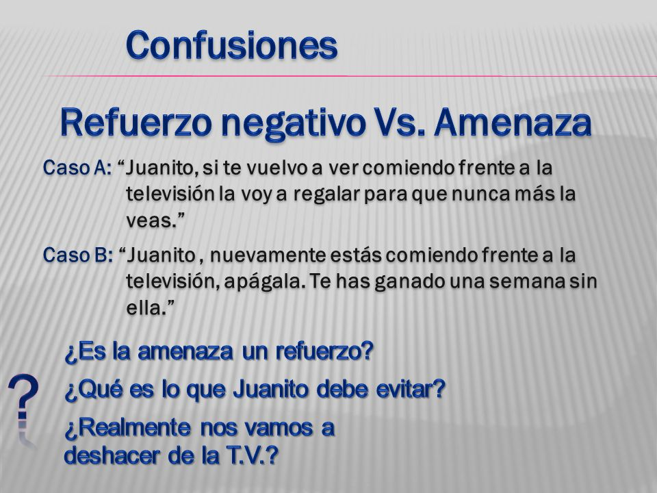 Refuerzo negativo Vs. Amenaza