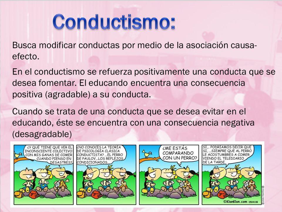 Conductismo: Busca modificar conductas por medio de la asociación causa-efecto.