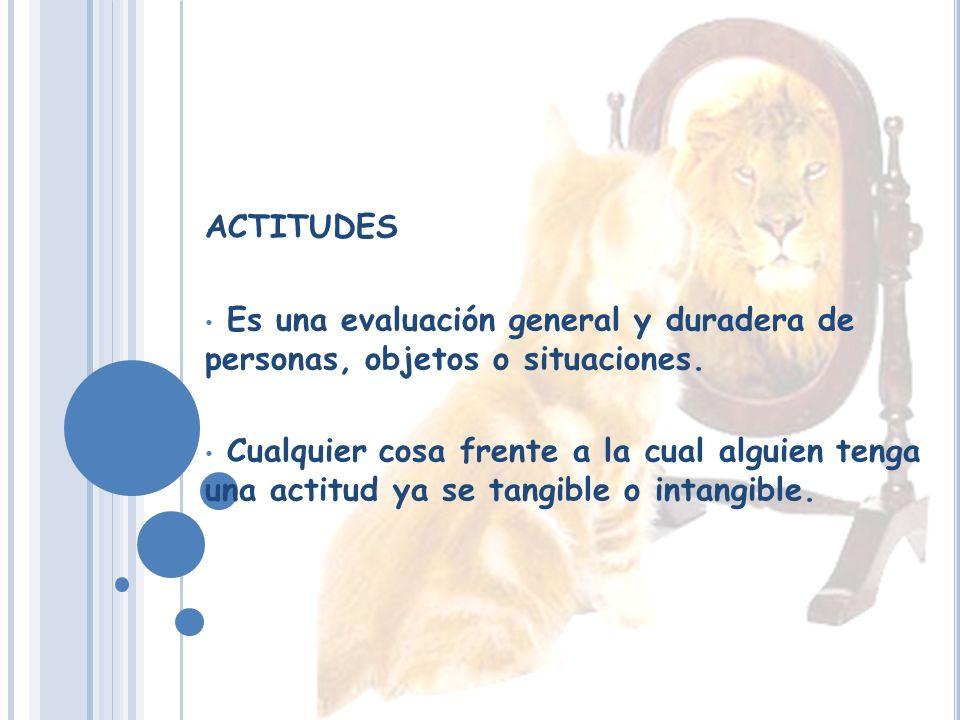 ACTITUDES Es una evaluación general y duradera de personas, objetos o situaciones.
