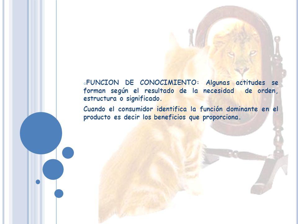 FUNCION DE CONOCIMIENTO: Algunas actitudes se forman según el resultado de la necesidad de orden, estructura o significado.