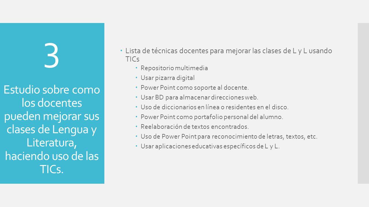 Lista de técnicas docentes para mejorar las clases de L y L usando TICs