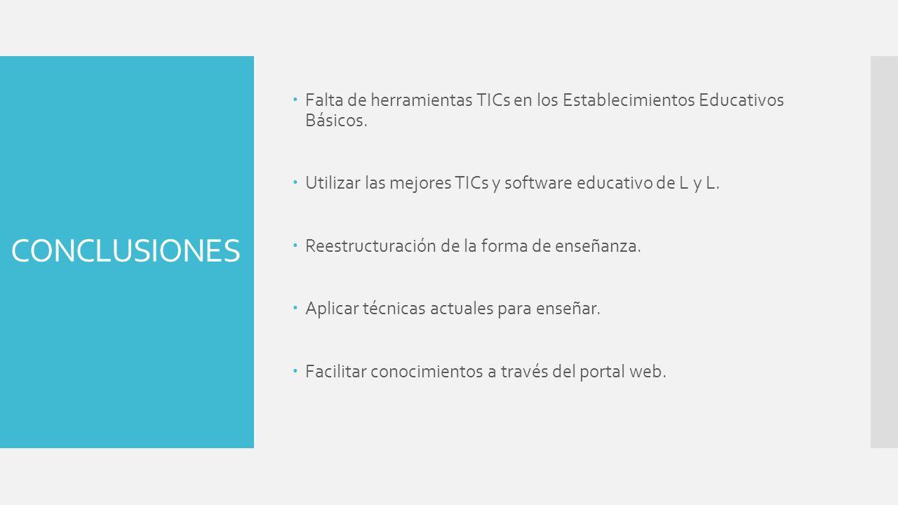 Falta de herramientas TICs en los Establecimientos Educativos Básicos.