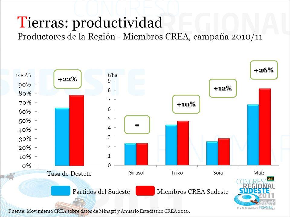 Tierras: productividad Productores de la Región - Miembros CREA, campaña 2010/11