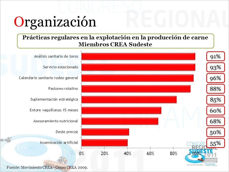 Organización Prácticas regulares en la explotación en la producción de carne Miembros CREA Sudeste.