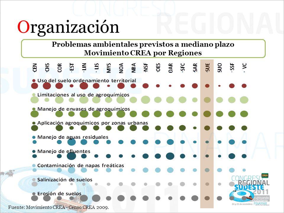 Organización Problemas ambientales previstos a mediano plazo