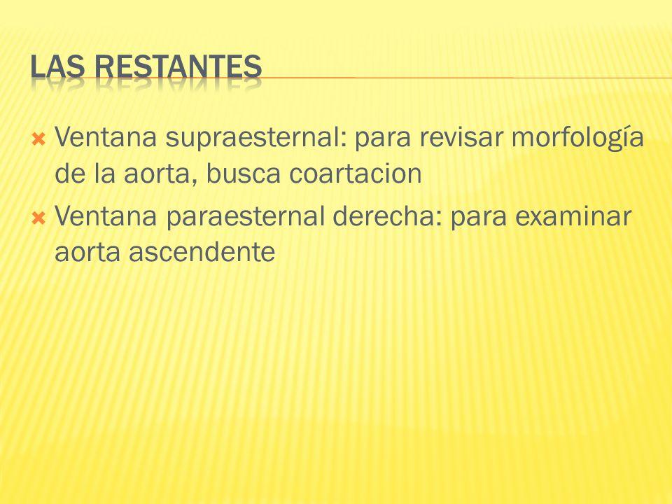 Las restantes Ventana supraesternal: para revisar morfología de la aorta, busca coartacion.