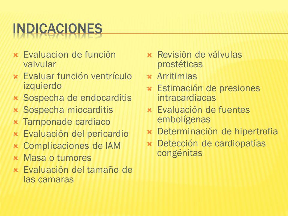 Indicaciones Evaluacion de función valvular
