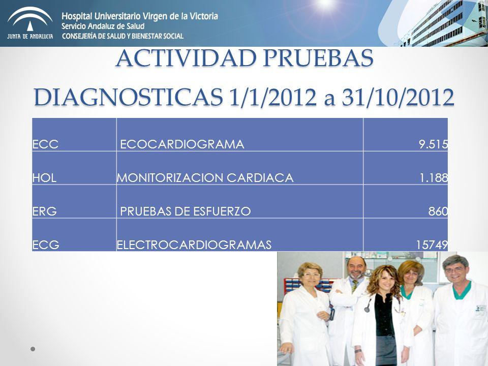 ACTIVIDAD PRUEBAS DIAGNOSTICAS 1/1/2012 a 31/10/2012