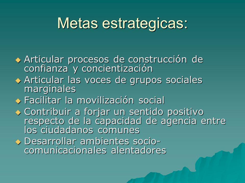 Metas estrategicas:Articular procesos de construcción de confianza y concientización. Articular las voces de grupos sociales marginales.
