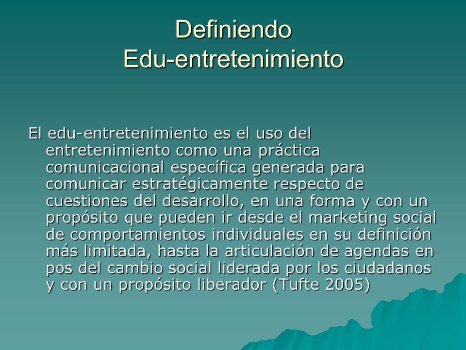 Definiendo Edu-entretenimiento