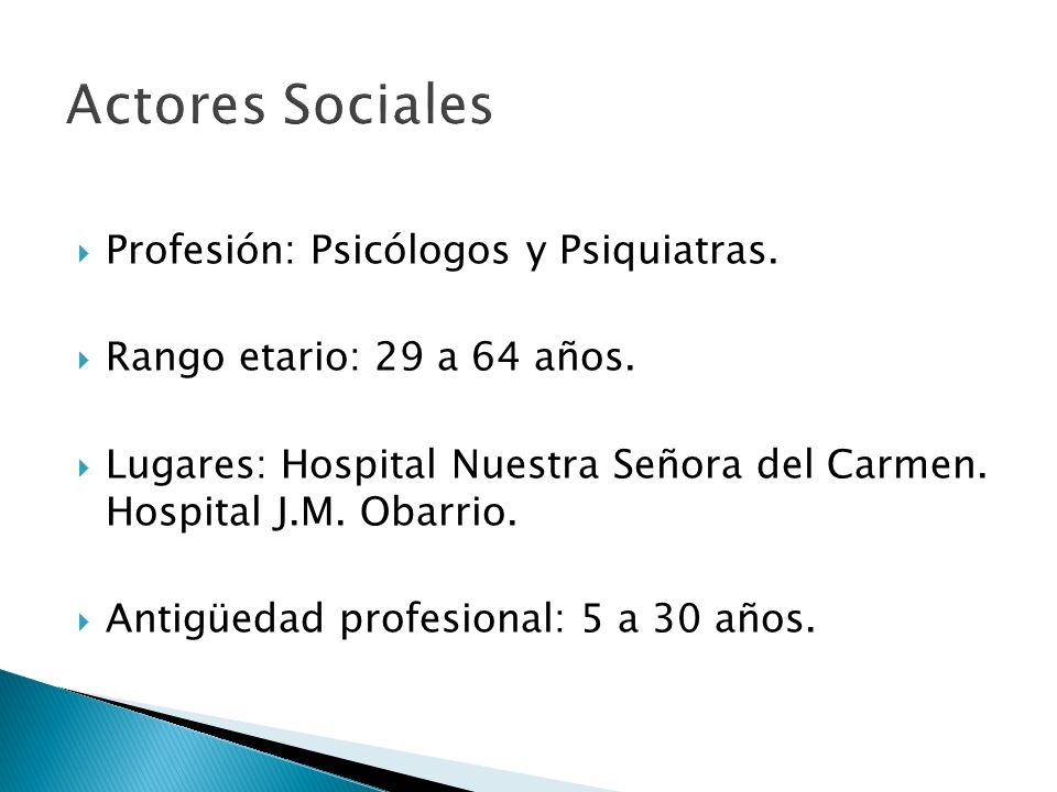 Actores Sociales Profesión: Psicólogos y Psiquiatras.