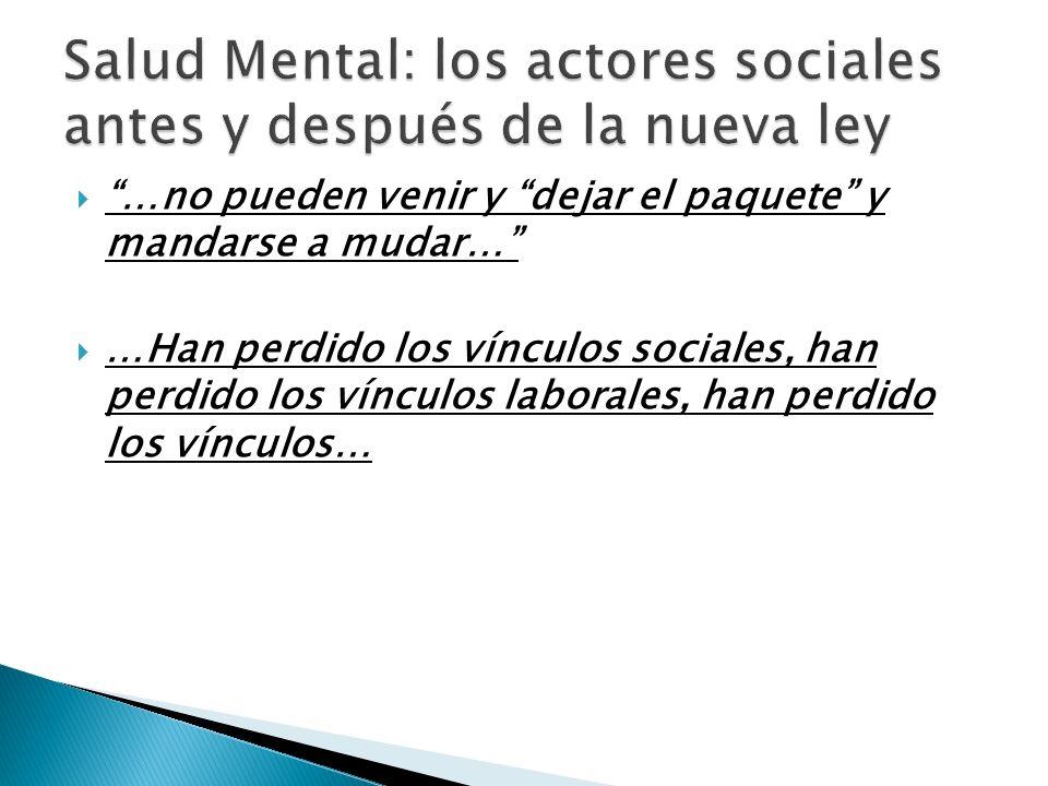 Salud Mental: los actores sociales antes y después de la nueva ley