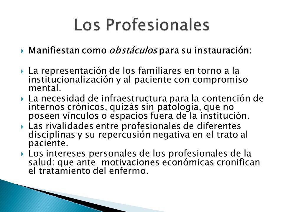 Los Profesionales Manifiestan como obstáculos para su instauración: