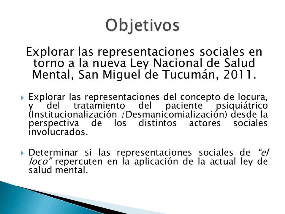 Objetivos Explorar las representaciones sociales en torno a la nueva Ley Nacional de Salud Mental, San Miguel de Tucumán, 2011.