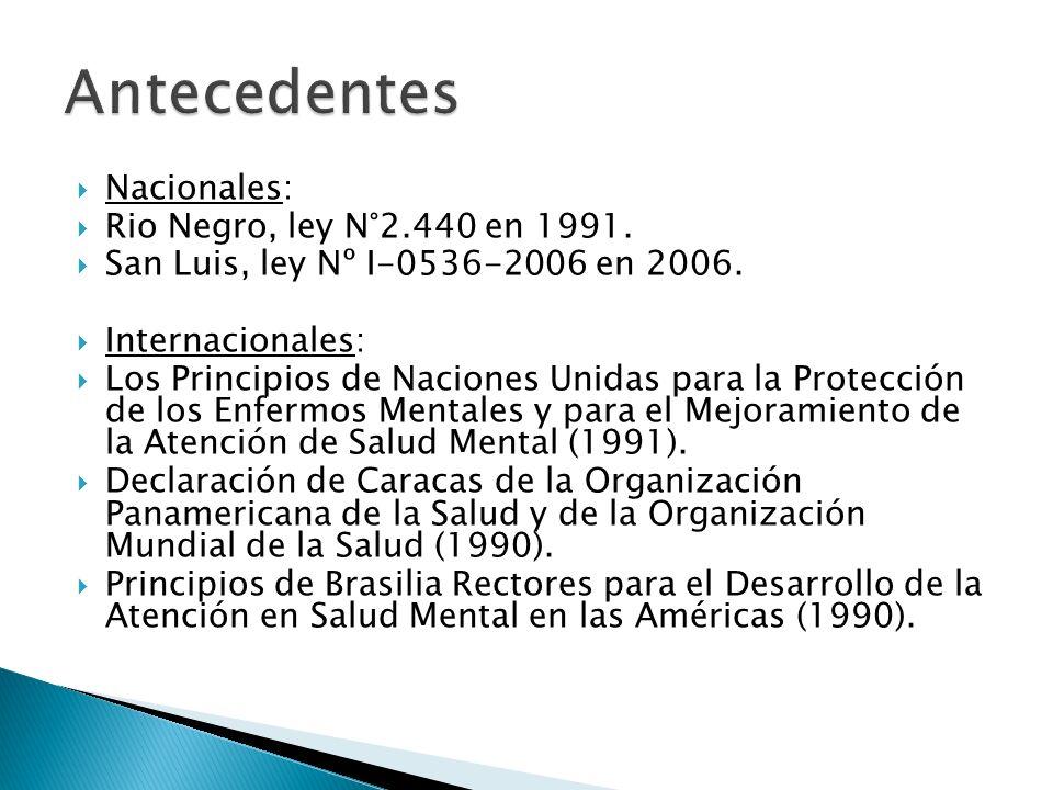Antecedentes Nacionales: Rio Negro, ley N°2.440 en 1991.
