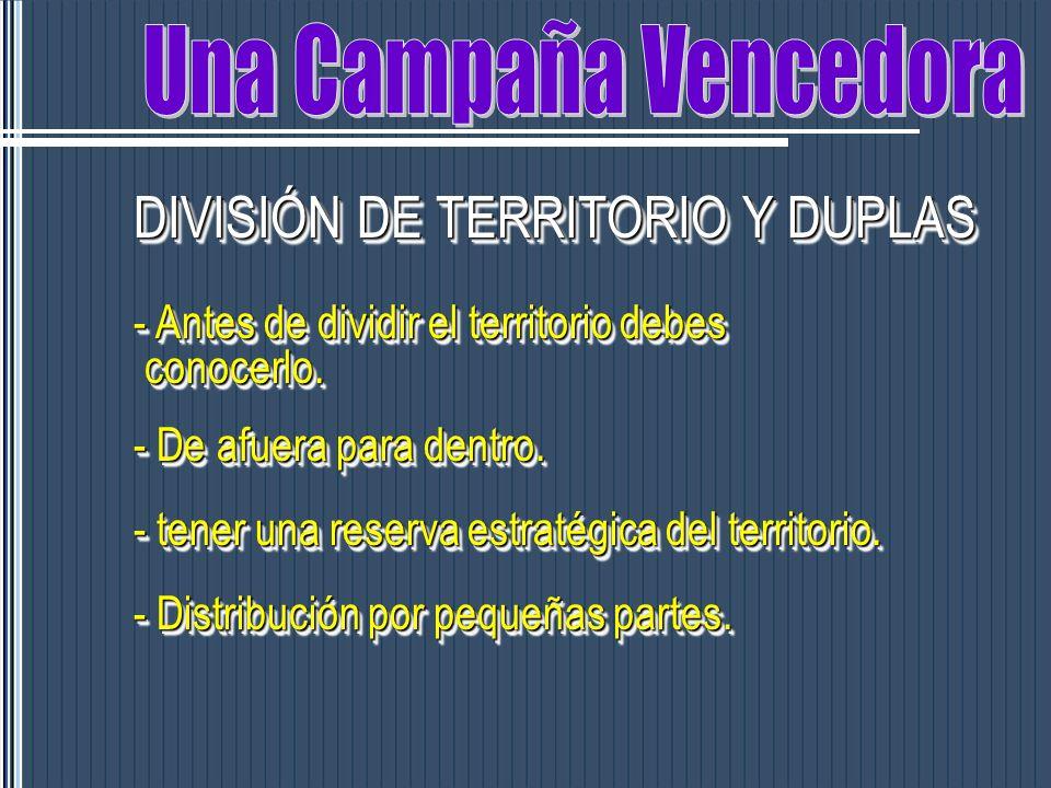 DIVISIÓN DE TERRITORIO Y DUPLAS