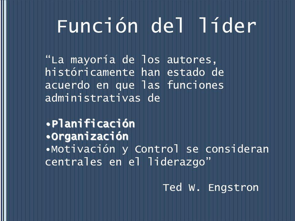 Función del líder La mayoría de los autores, históricamente han estado de acuerdo en que las funciones administrativas de.