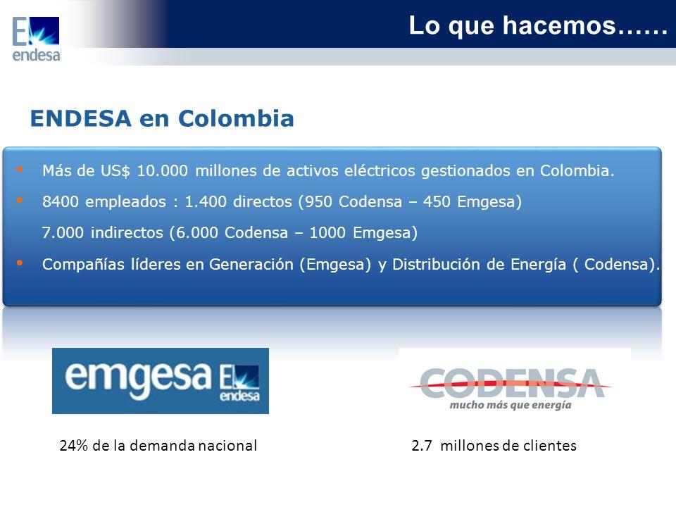 Lo que hacemos…… ENDESA en Colombia 24% de la demanda nacional