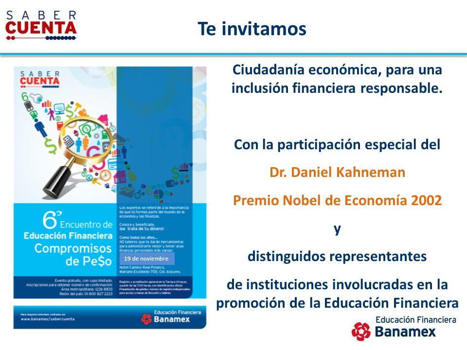 Te invitamos Ciudadanía económica, para una inclusión financiera responsable. Con la participación especial del.