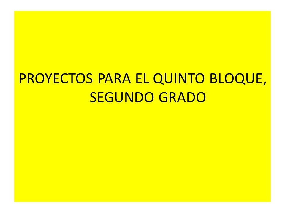 PROYECTOS PARA EL QUINTO BLOQUE, SEGUNDO GRADO