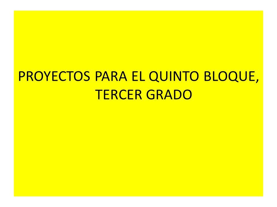 PROYECTOS PARA EL QUINTO BLOQUE, TERCER GRADO