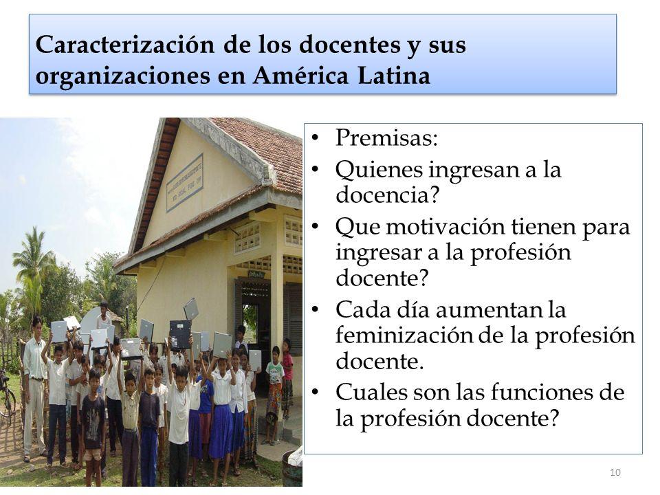 Caracterización de los docentes y sus organizaciones en América Latina