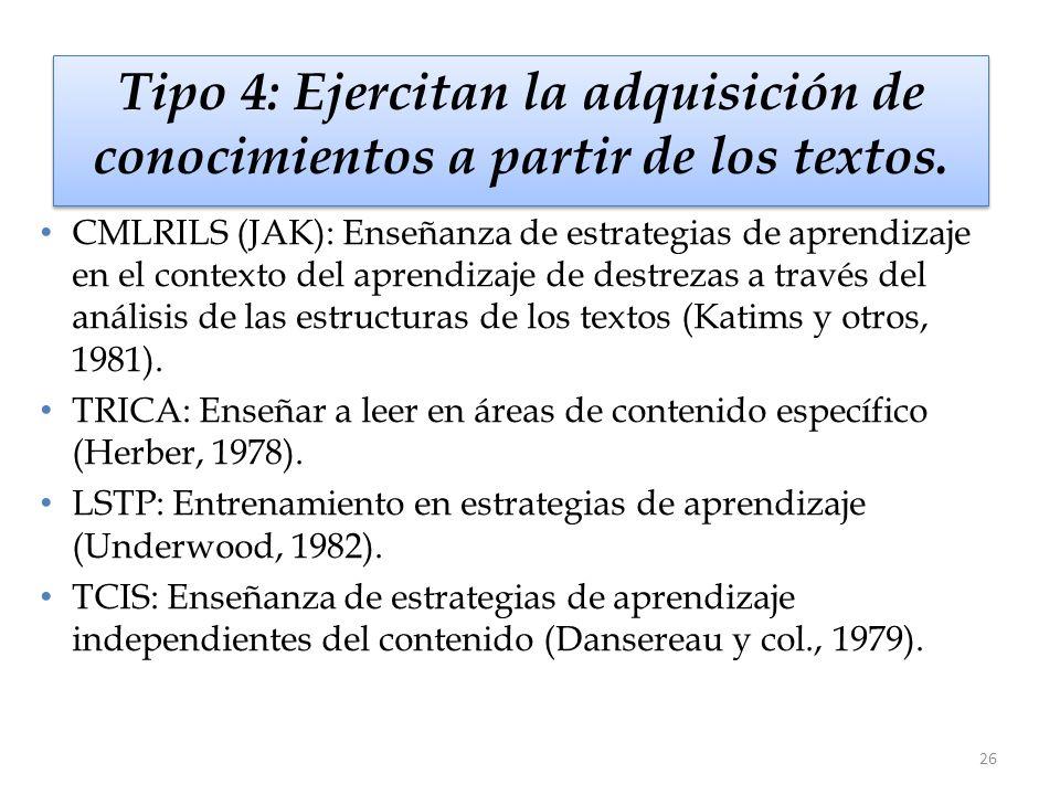 Tipo 4: Ejercitan la adquisición de conocimientos a partir de los textos.