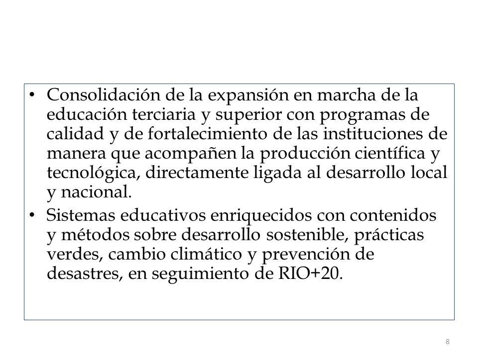 Consolidación de la expansión en marcha de la educación terciaria y superior con programas de calidad y de fortalecimiento de las instituciones de manera que acompañen la producción científica y tecnológica, directamente ligada al desarrollo local y nacional.