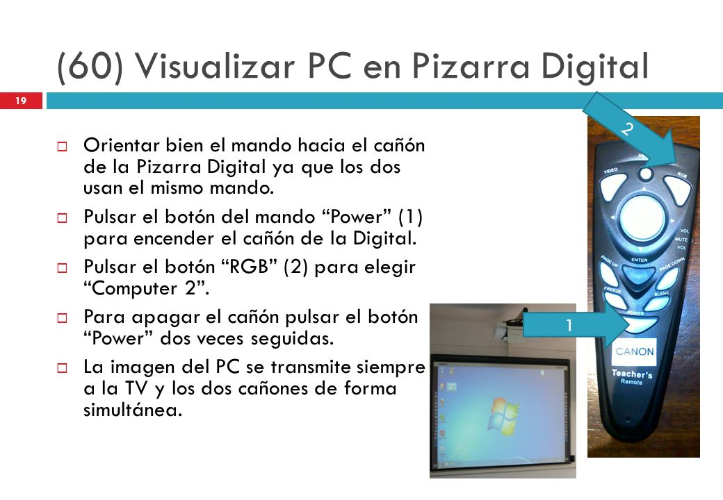 (60) Visualizar PC en Pizarra Digital