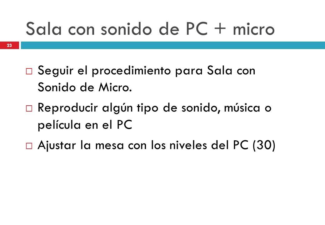 Sala con sonido de PC + micro