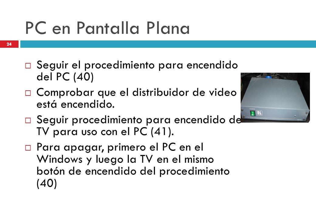PC en Pantalla Plana Seguir el procedimiento para encendido del PC (40) Comprobar que el distribuidor de video está encendido.