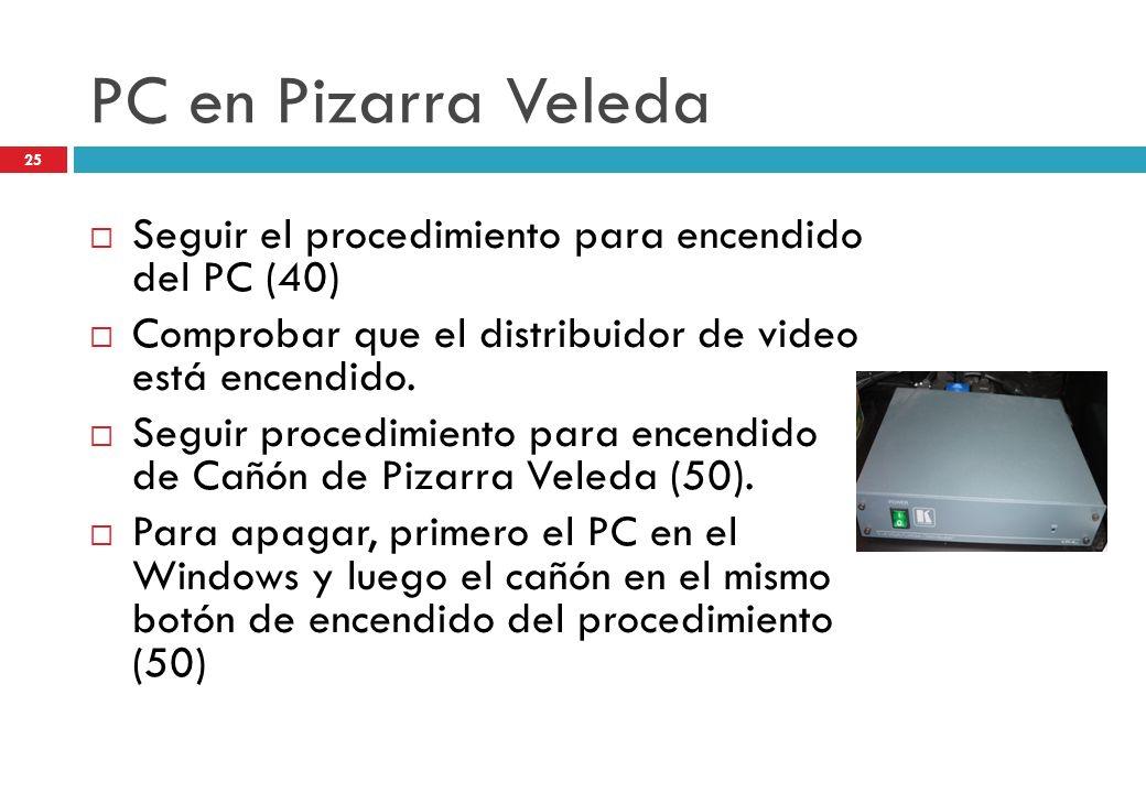 PC en Pizarra Veleda Seguir el procedimiento para encendido del PC (40) Comprobar que el distribuidor de video está encendido.