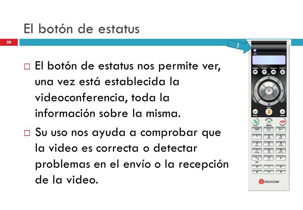 El botón de estatus 1. El botón de estatus nos permite ver, una vez está establecida la videoconferencia, toda la información sobre la misma.