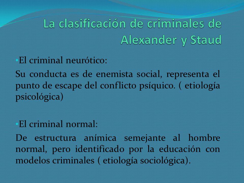 La clasificación de criminales de Alexander y Staud