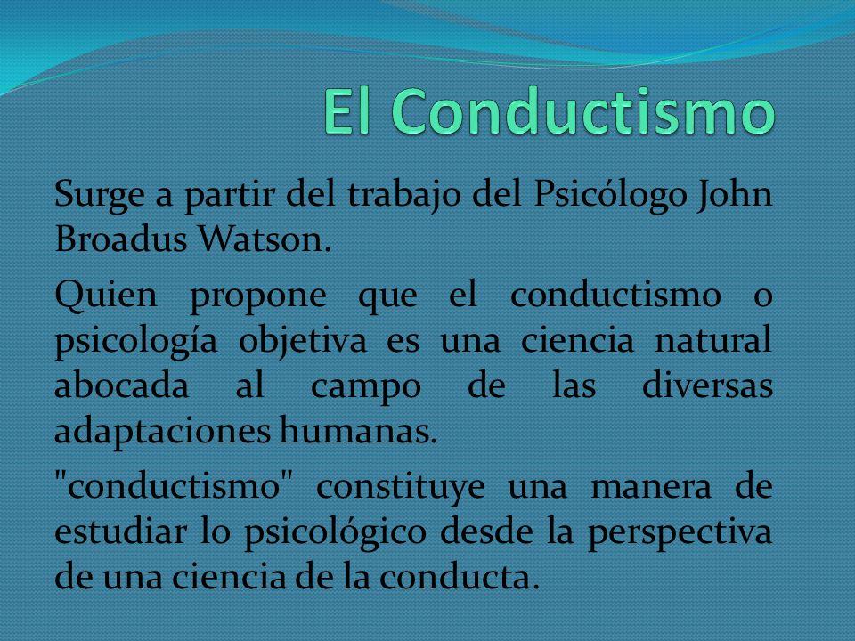 El Conductismo Surge a partir del trabajo del Psicólogo John Broadus Watson.