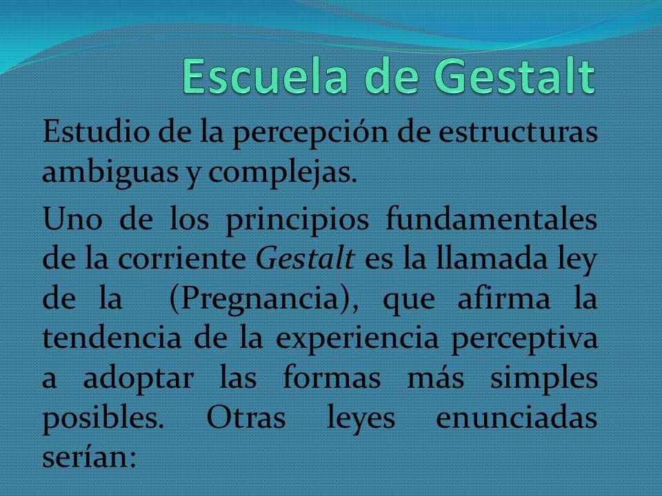 Escuela de Gestalt Estudio de la percepción de estructuras ambiguas y complejas.