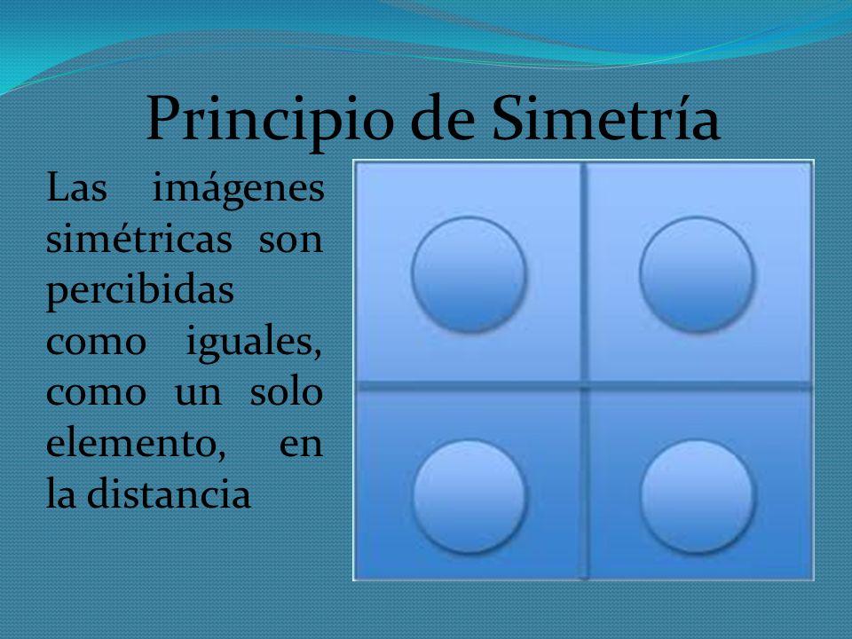 Principio de Simetría Las imágenes simétricas son percibidas como iguales, como un solo elemento, en la distancia.