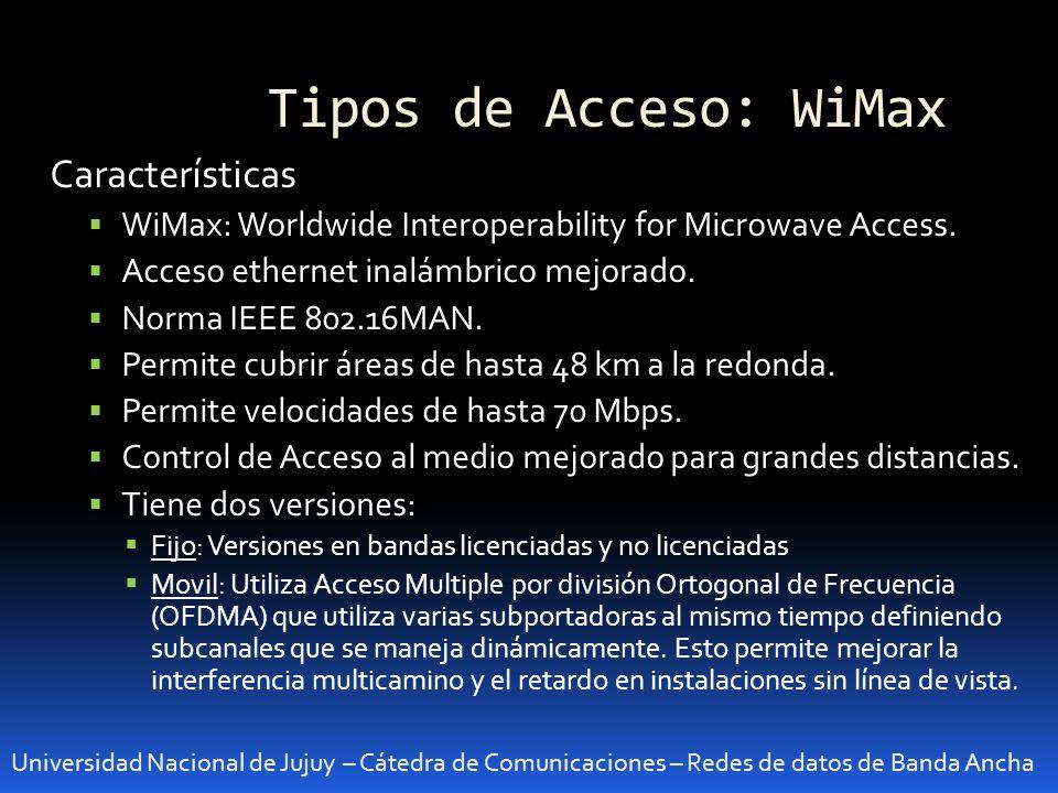 Tipos de Acceso: WiMax Características