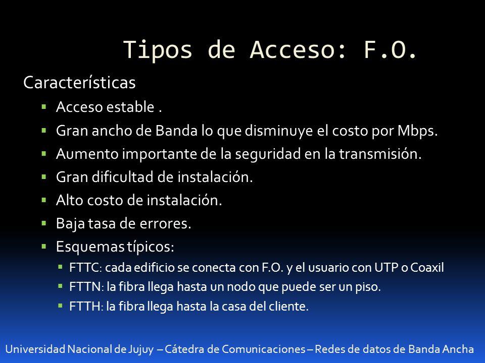 Tipos de Acceso: F.O. Características Acceso estable .