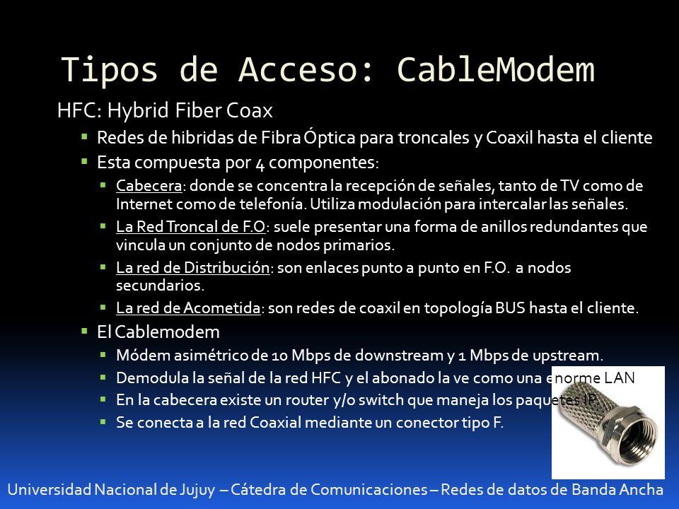 Tipos de Acceso: CableModem
