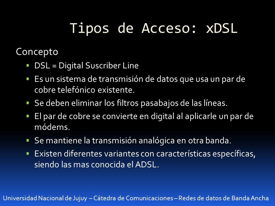Tipos de Acceso: xDSL Concepto DSL = Digital Suscriber Line