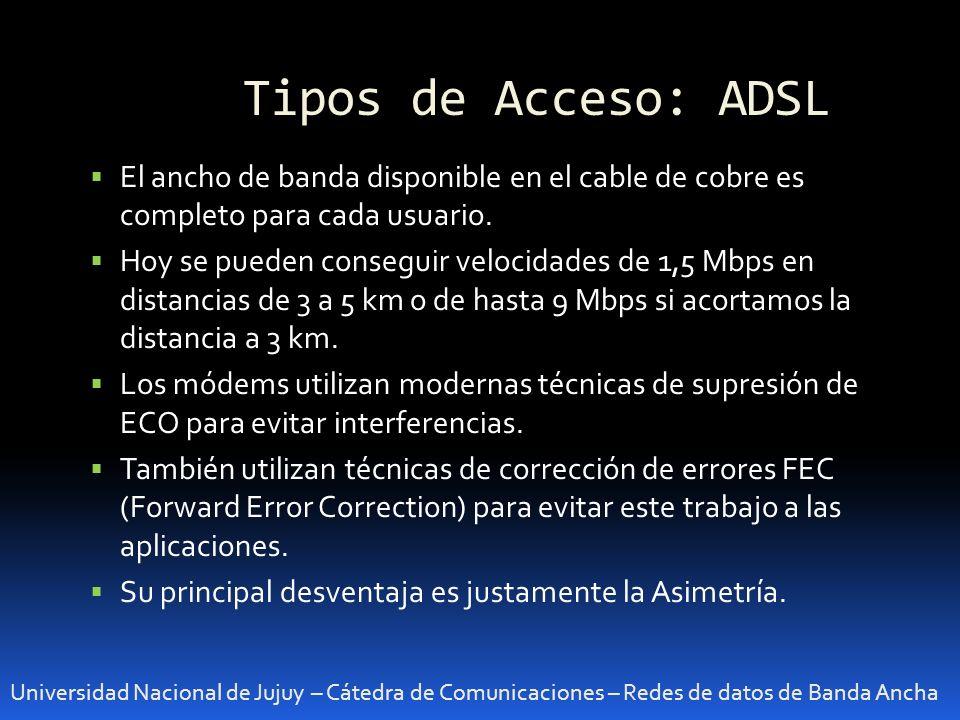 Tipos de Acceso: ADSL El ancho de banda disponible en el cable de cobre es completo para cada usuario.