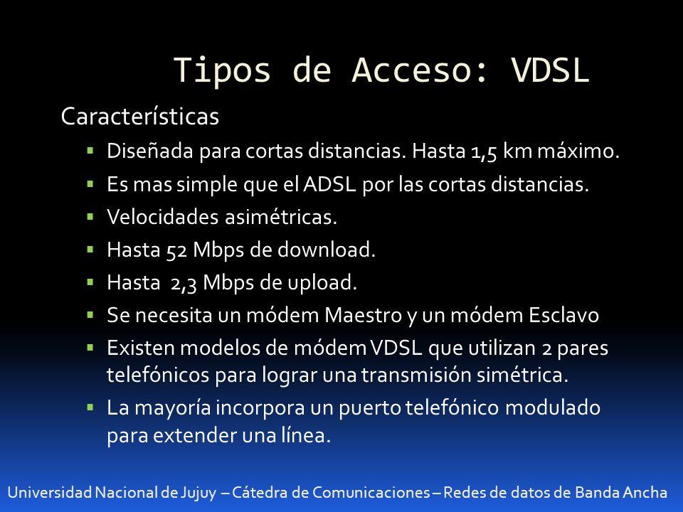 Tipos de Acceso: VDSL Características