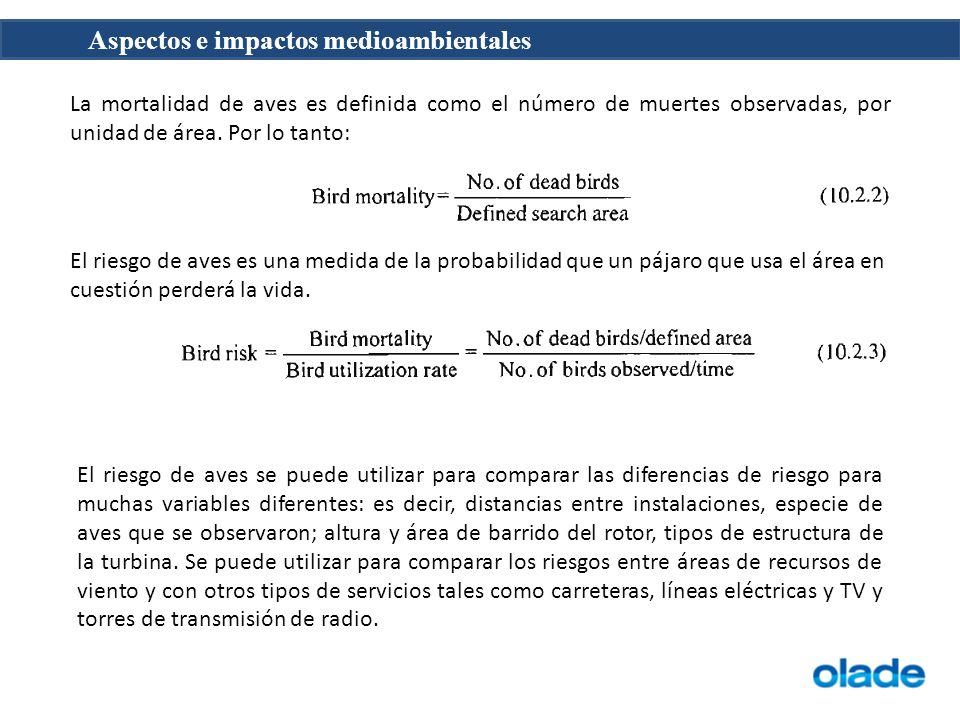 La mortalidad de aves es definida como el número de muertes observadas, por unidad de área. Por lo tanto: