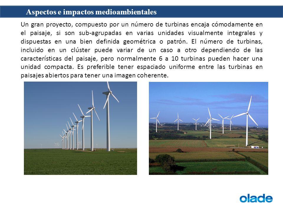 Un gran proyecto, compuesto por un número de turbinas encaja cómodamente en el paisaje, si son sub-agrupadas en varias unidades visualmente integrales y dispuestas en una bien definida geométrica o patrón.