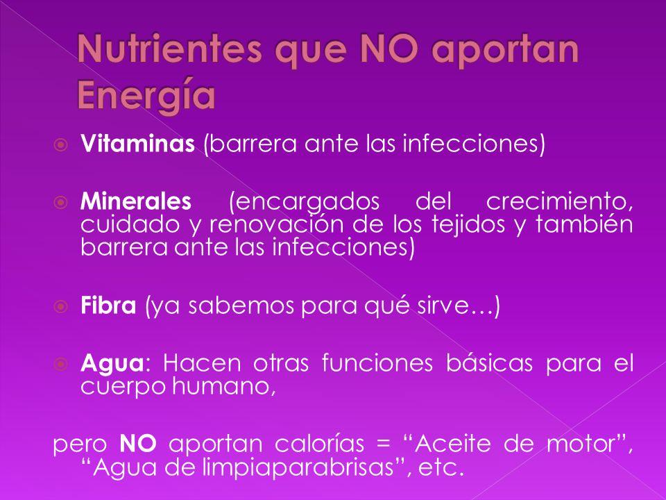 Nutrientes que NO aportan Energía