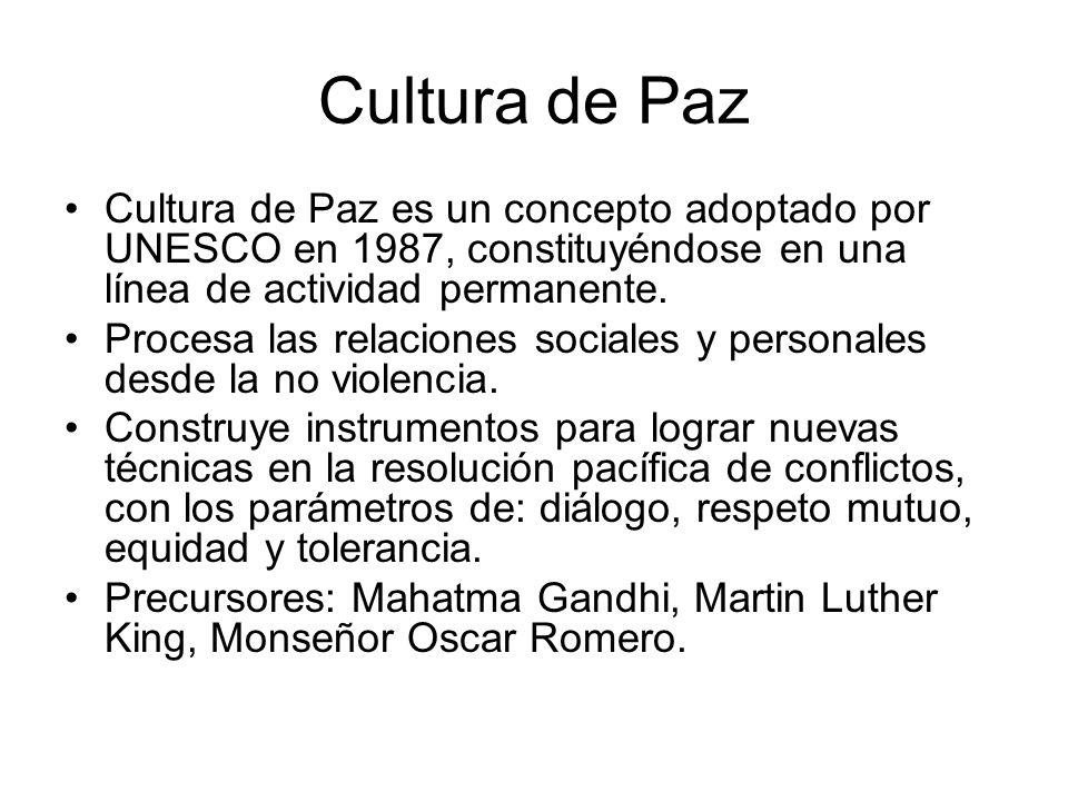 Cultura de Paz Cultura de Paz es un concepto adoptado por UNESCO en 1987, constituyéndose en una línea de actividad permanente.